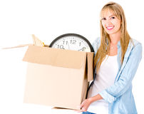 Woman carrying a box Stock Images