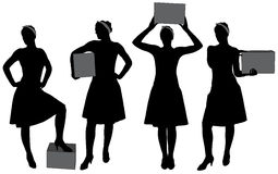 Woman carrying box silhouette Royalty Free Stock Image
