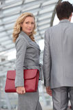 Woman carrying briefcase Royalty Free Stock Photography