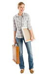 Woman Carrying Canvas And Wooden Case While Looking Away Stock Images