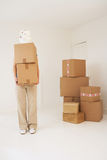 Woman Carrying Cardboard Boxes In Home Stock Photos