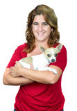 Woman carrying a  chihuahua dog Royalty Free Stock Photos