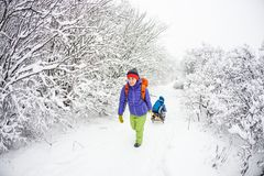A woman is carrying a child on a sled. A women is carrying a child on a sled. Mom walks with her son on the snow trail. Cheerful winter vacation. Winter fun Stock Image
