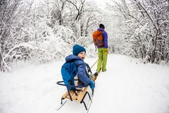 A woman is carrying a child on a sled. A women is carrying a child on a sled. Mom walks with her son on the snow trail. Cheerful winter vacation. Winter fun Royalty Free Stock Photography