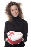 Woman carrying a chocolate box Royalty Free Stock Image