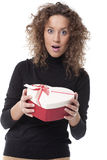 Woman carrying a chocolate box Stock Image