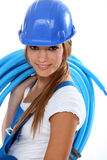Woman carrying coil Royalty Free Stock Image