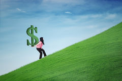 Woman carrying dollar symbol on hill Royalty Free Stock Images