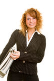 Woman carrying files Royalty Free Stock Photography