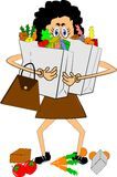 Woman carrying groceries Royalty Free Stock Images