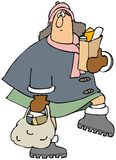 Woman carrying groceries. This illustration depicts a bundled up woman carrying grocery bags Royalty Free Stock Photography