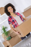 Woman carrying heavy cardboard. A woman is carrying a heavy cardboard Stock Images