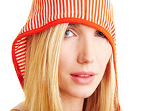 Woman carrying a hood Royalty Free Stock Image