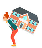 Woman carrying house Stock Images