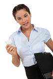 Woman carrying a laptop Stock Photo