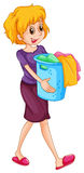 Woman carrying laundry basket. Illustration vector illustration