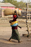 Woman carrying load, South Sudan Royalty Free Stock Images