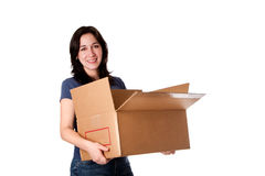 Woman carrying open moving storage box Stock Photography