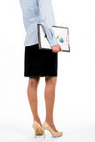 Woman carrying papers with diagrams. Female carrying clipboard with charts. Woman carrying papers with diagrams. Time to demonstrate monthly report. Market royalty free stock images