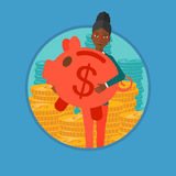 Woman carrying piggy bank vector illustration. Royalty Free Stock Image