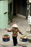 Woman Carrying Produce, Hanoi, Vietnam Royalty Free Stock Photography