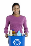 Woman Carrying Recycling Bin stock photography