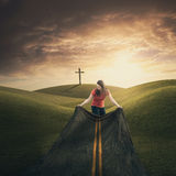 Woman carrying road. Royalty Free Stock Images