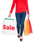 Woman Carrying Shopping Bag Advertising Sale Royalty Free Stock Image