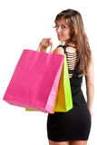 Woman Carrying Shopping Bags Stock Photos