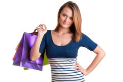 Woman Carrying Shopping Bags Royalty Free Stock Photos