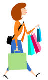 Woman Carrying Shopping Bags. A woman walking with colorful shopping bags Stock Illustration