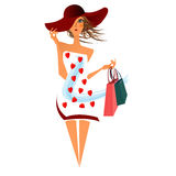 Woman carrying shopping bug Stock Images