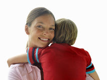 Woman carrying son, close-up, smiling, portrait, cut out Stock Images