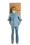 Woman Carrying Stacked Cardboard Boxes Royalty Free Stock Images