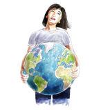 Woman carrying the world sketch Stock Images