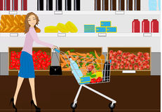 The woman in grocery shop Royalty Free Stock Images