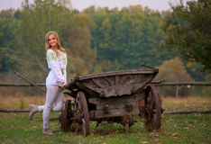 Woman  and cart horse Stock Photo