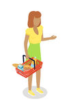 Woman with Cart Purchases in Flat Design. Vector. Woman with cart purchases in flat design. Shop cart customer male buy, buggy with purchase, consumer with goods Stock Photo