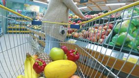 Woman with cart or trolley buying fresh vegetables and fruits at supermarket. Point of view shot. Consumerism, sale, shopping and health care concept stock video