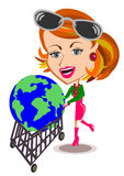 Woman and cart world concept Stock Photos