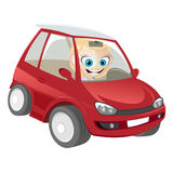 Woman in cartoon car Stock Images