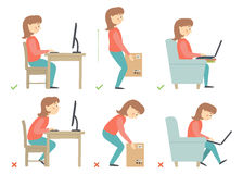 Woman cartoon character. Correct and Incorrect Activities Posture in Daily Routine - Sitting and Working with a Computer. Correct and Incorrect Activities Royalty Free Stock Images