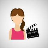 woman cartoon clapper movie design Stock Images