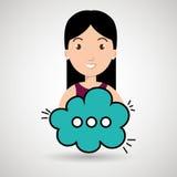 Woman cartoon cloud speack chat Stock Image