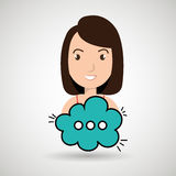 Woman cartoon cloud speack chat Stock Photos