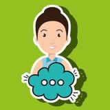 Woman cartoon cloud speack chat Stock Photo