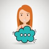 Woman cartoon cloud speack chat. Woman cartoon cloud blue speack chat  illustration eps 10 Royalty Free Stock Photo