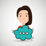 Woman cartoon cloud speack chat Royalty Free Stock Photo