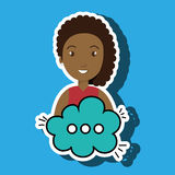 Woman cartoon cloud speack chat Stock Photography