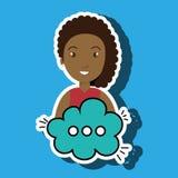 Woman cartoon cloud speack chat. Woman cartoon cloud blue speack chat  illustration eps 10 Stock Photography